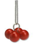 Pendant :  Zapatero wood, painted  red,   silver, silver chain                     2004/5