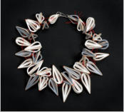 Necklace  :  Plywood ( birch ),  paint ( grey/white ), red  nylon Silverlock 2006